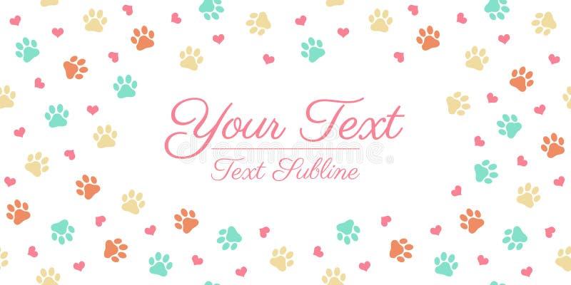 Kolorowy kota lub psa łapy druk - kartka z pozdrowieniami układ royalty ilustracja