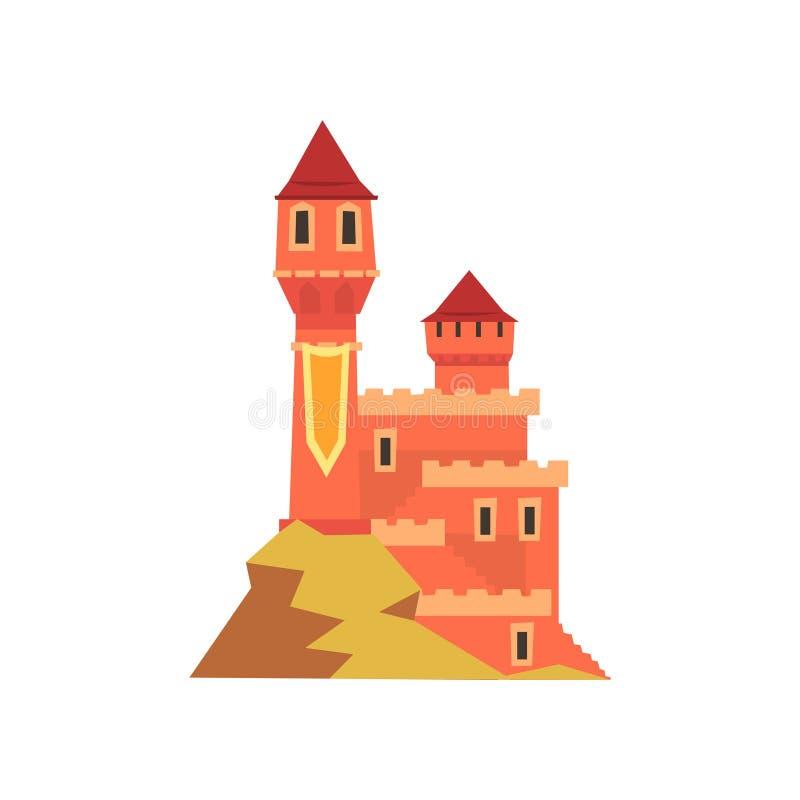 Kolorowy królewski kasztel z góruje pozycję na wzgórzu Ikona średniowieczny fort stara architektury Płaski wektorowy projekt dla royalty ilustracja