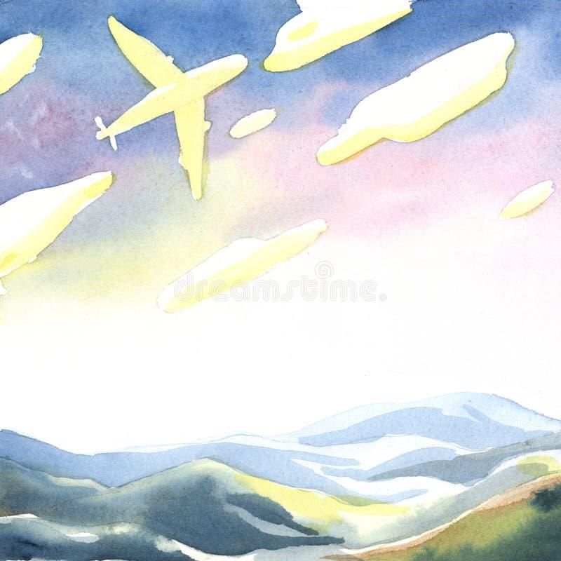 Kolorowy krajobraz z niebem, chmury i góry royalty ilustracja