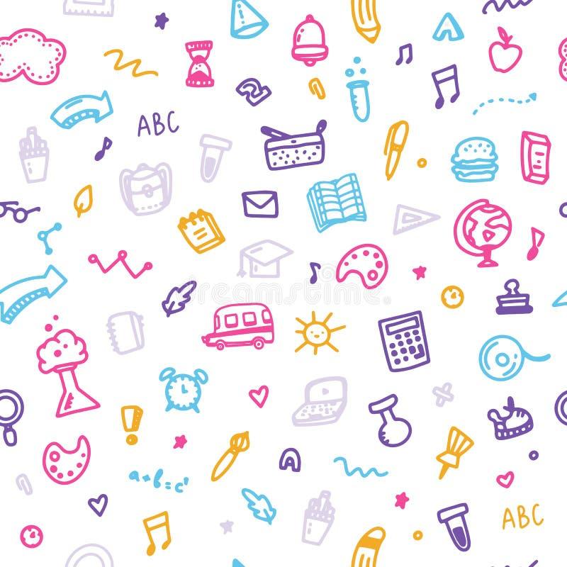 Kolorowy kreskówki doodle z powrotem szkoła wzór Wektorowy bezszwowy edukacja wz?r Komputer, alarmowa ikona ilustracja wektor