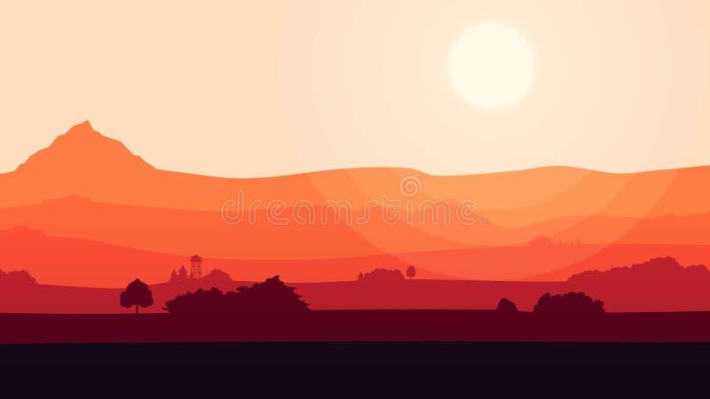 Kolorowy kreskówki natury tło Animacja ładny czerwony zmierzchu tło z niektóre i góra krajobrazem chmurnieje ilustracji