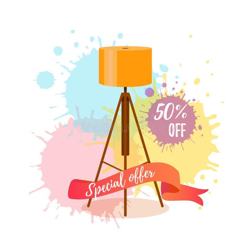 Kolorowy kreskówki podłogowej lampy sprzedaży pojęcie dla domowego urządzenia meble salowego sklepu ilustracji