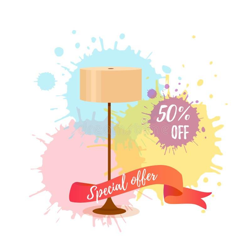 Kolorowy kreskówki podłogowej lampy sprzedaży pojęcie dla domowego urządzenia meble salowego sklepu ilustracja wektor