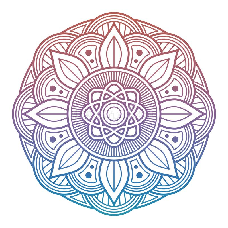 Kolorowy kwiatu mandala Język arabski, hindus, azjatykci dekoracyjny element ilustracja wektor