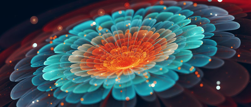 Kolorowy kwiatu sztandar w filmowym stylowym abstrakcjonistycznym tle ilustracji