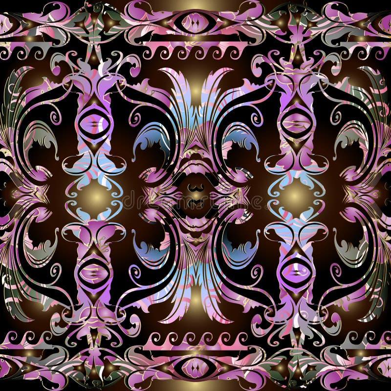 Kolorowy kwiecisty Barokowy bezszwowy granica wzór Wektorowy ornamentacyjny antykwarski tło Rocznik elegancji baroku abstrakcjoni ilustracja wektor
