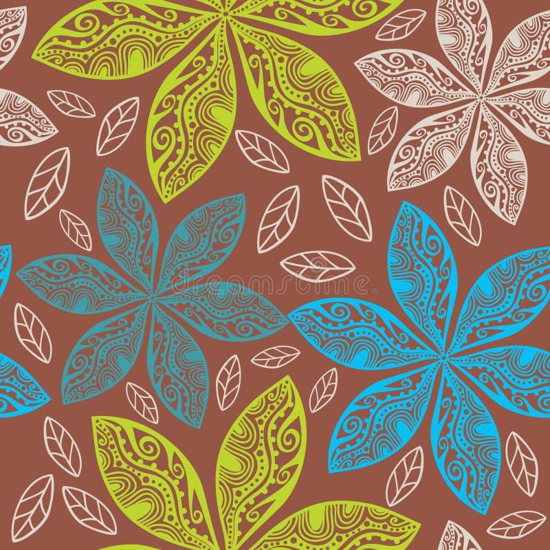 Kolorowy kwiecisty bezszwowy wzór w kreskówka stylu. ilustracja wektor