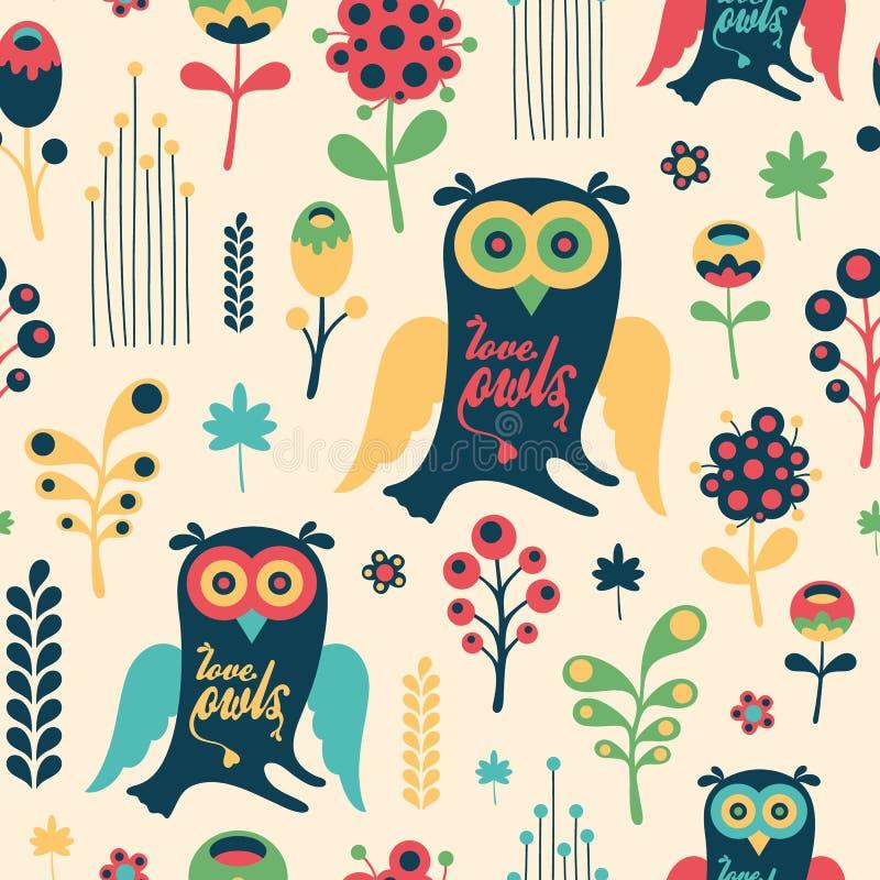 Kolorowy kwiecisty bezszwowy wzór z miłość sowami royalty ilustracja