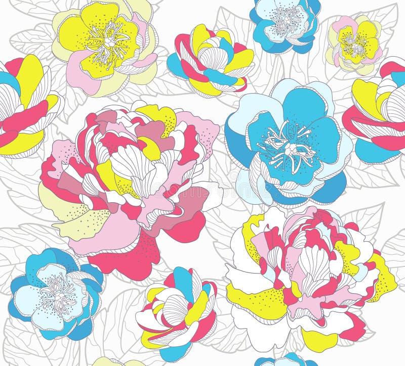 kolorowy kwiecisty deseniowy bezszwowy ilustracja wektor
