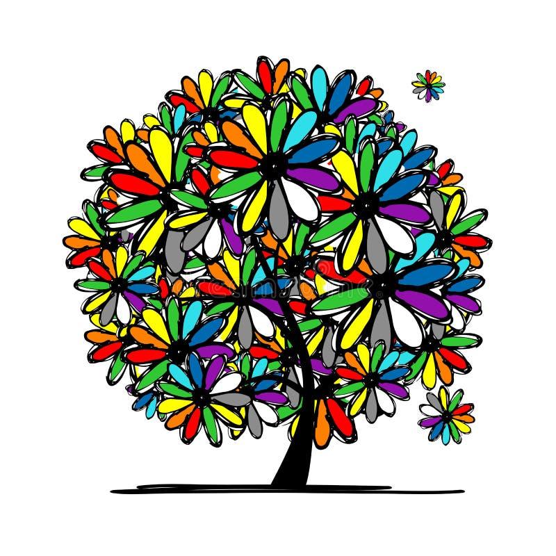 Kolorowy kwiecisty drzewo dla twój projekta ilustracji