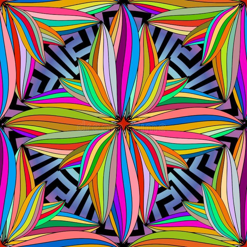Kolorowy kwiecisty grecki mandala wektorowy bezszwowy wzór Multicolo ilustracji