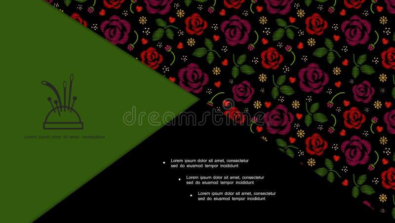 Kolorowy Kwiecisty Hafciarski skład ilustracji