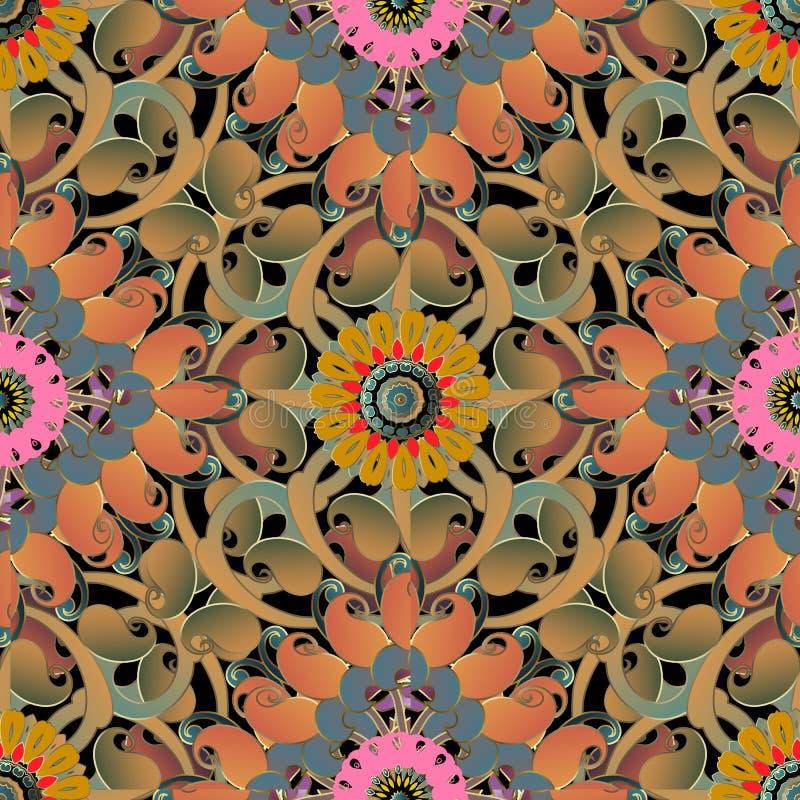 Kolorowy kwiecisty Paisley wektorowy bezszwowy wzór Elegancji zawijas deseniujący jaskrawy tło Powtórki dekoracyjny tło ilustracji