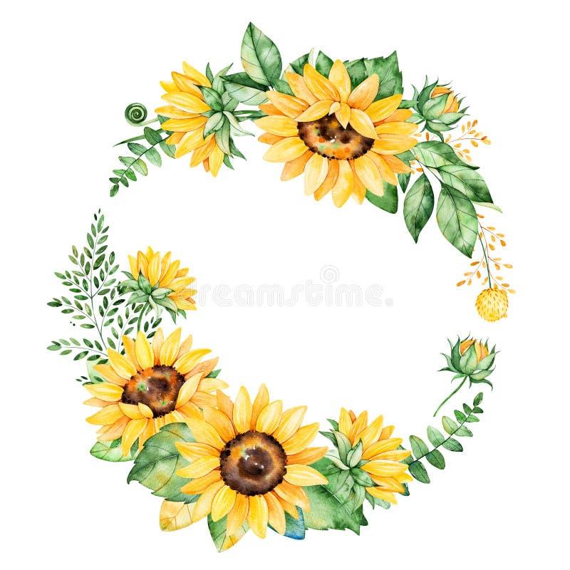 Kolorowy kwiecisty wianek z słonecznikami, liśćmi, ulistnieniem, gałąź, paproć liśćmi i miejscem dla twój teksta,