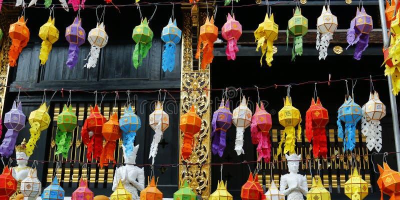 Kolorowy lampion podczas Loy krathong festiwalu CHIANG MAI, TAJLANDIA zdjęcie royalty free
