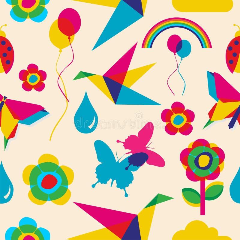 Kolorowy lato origami wzór royalty ilustracja