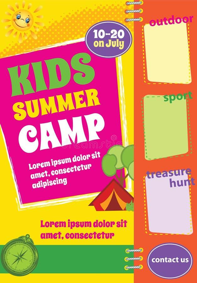 Kolorowy lato podróży szablon, obóz letni ulotka ilustracja wektor