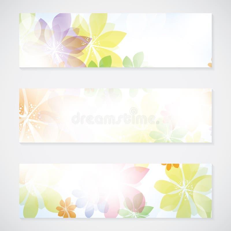 Kolorowy lato wiosny tła sztandar z kwiatami ilustracja wektor
