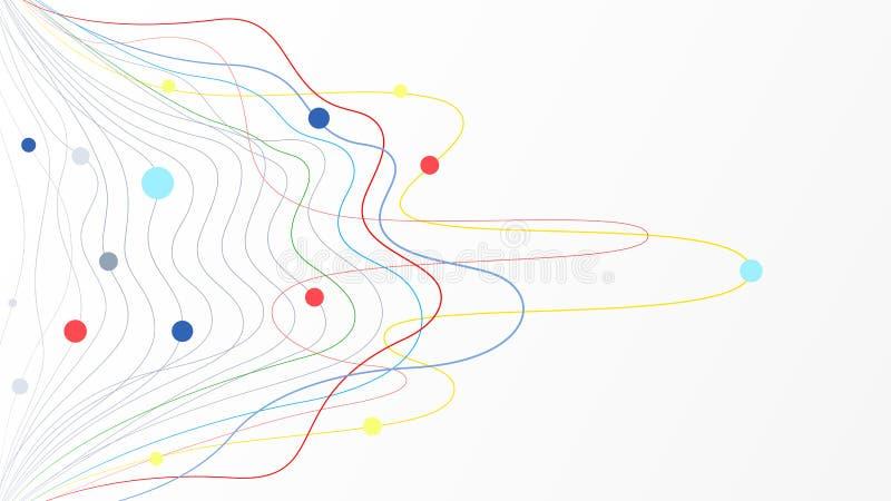 Kolorowy linii fali kropek cyklu elementów wektoru tło royalty ilustracja