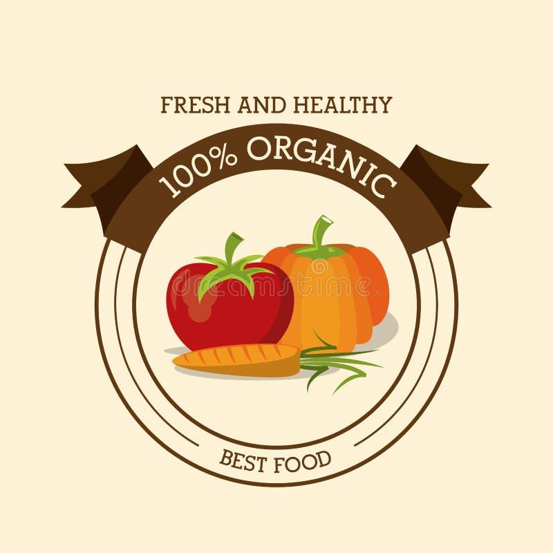 Kolorowy logo świeża, zdrowa żywność organiczna z i ilustracja wektor