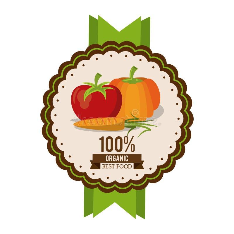 Kolorowy logo organicznie najlepszy jedzenie z pomidorową marchewką i banią royalty ilustracja