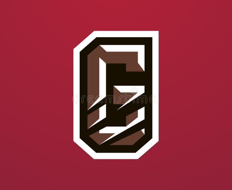Kolorowy logo, pisze list porysowanego pazura gniewnego niedźwiedzia, grizzly Wektorowy ilustracji, dynamicznego i sporty styl, d royalty ilustracja