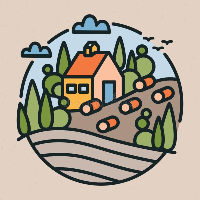 Kolorowy logotyp z krajobrazem, rolny budynek, wzgórza, pole w nowożytnej kreskowej sztuce, i projektujemy _ ilustracji