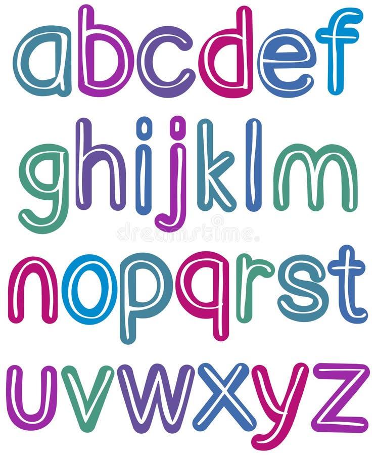 Kolorowy lowercase muśnięcia abecadło ilustracji
