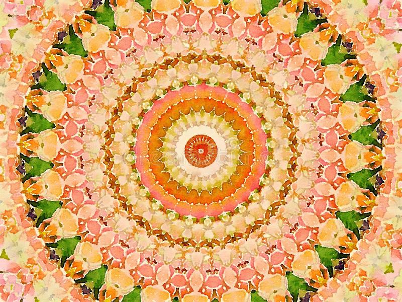 Kolorowy magiczny stubarwny kalejdoskopu projekta mehendi ilustracji