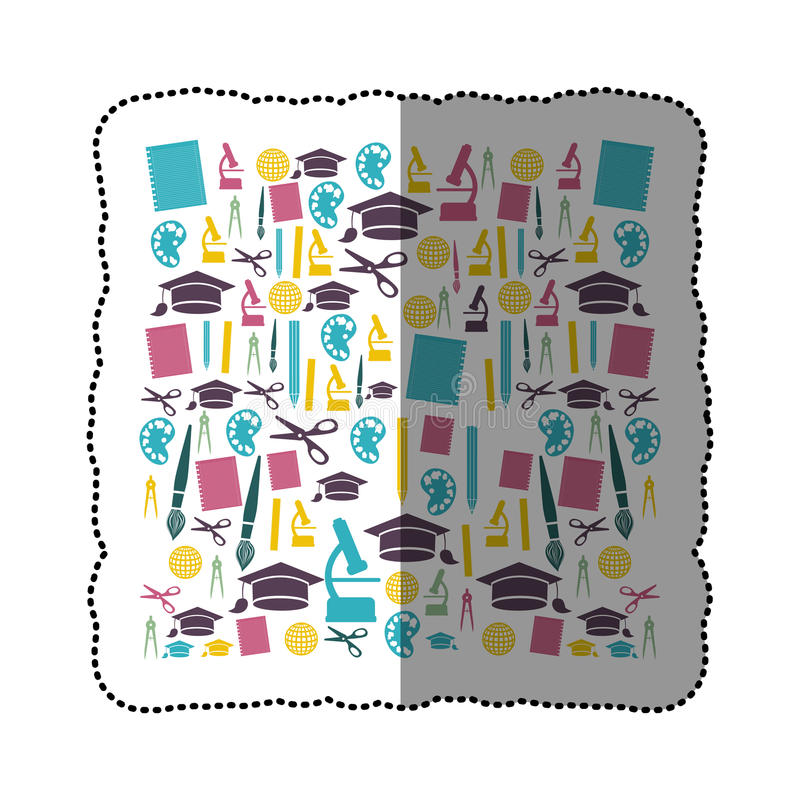kolorowy majcher ustawiający nauk ikony w kwadratowym kształcie royalty ilustracja
