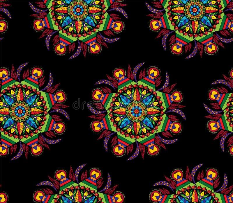 Kolorowy mandala kółkowy dekoracyjny ornament z kwiatami i liście w etnicznym stylowym bezszwowym druku deseniujemy wektorową ilu ilustracja wektor