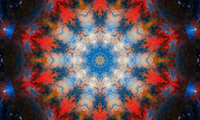 Kolorowy mandala z błękitną świecącą mgłą royalty ilustracja