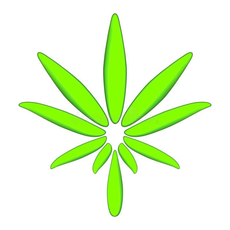 Kolorowy marihuana liść Nowożytnej zielonej ikony ornamentacyjny kwiecisty element nad lekkim tłem Piękni iluminujący ornamenty z ilustracja wektor