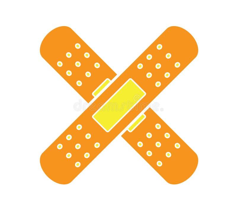Kolorowy medyczny bandaż ikony wektor odizolowywał białego tło ilustracji