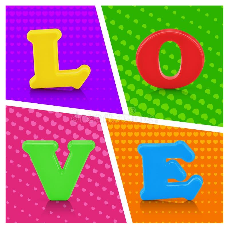 Kolorowy miłości abecadło na wystrzał sztuki tle zdjęcia royalty free