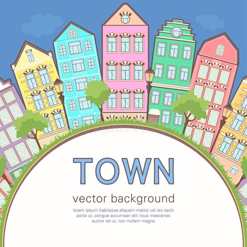 Kolorowy miasta tło, abstrakt stylizująca dom karta, sztandar, pokrywa Stubarwni europejczyków domy w rzędzie, niebieskie niebo,  ilustracji