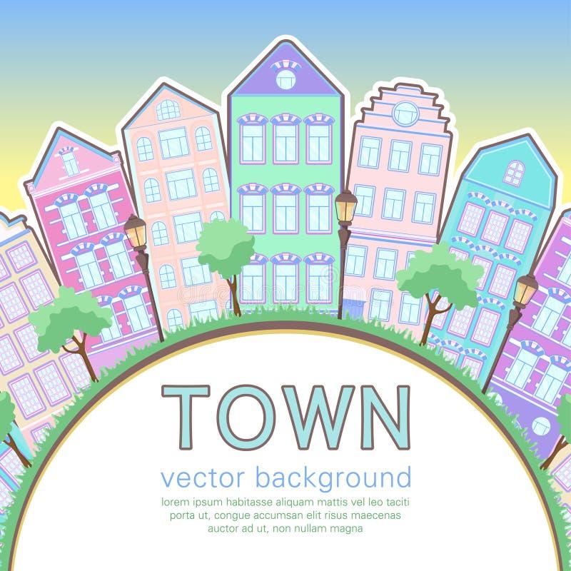 Kolorowy miasta tło, abstrakt stylizująca dom karta, sztandar, pokrywa Stubarwni europejczyków domy w rzędzie, zmierzchu niebo, g ilustracji