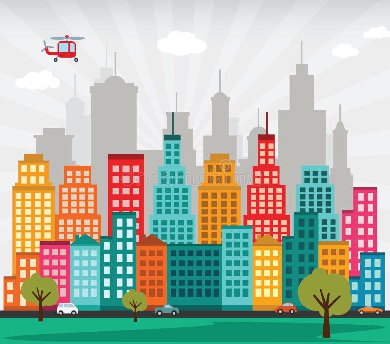 Kolorowy miasto royalty ilustracja