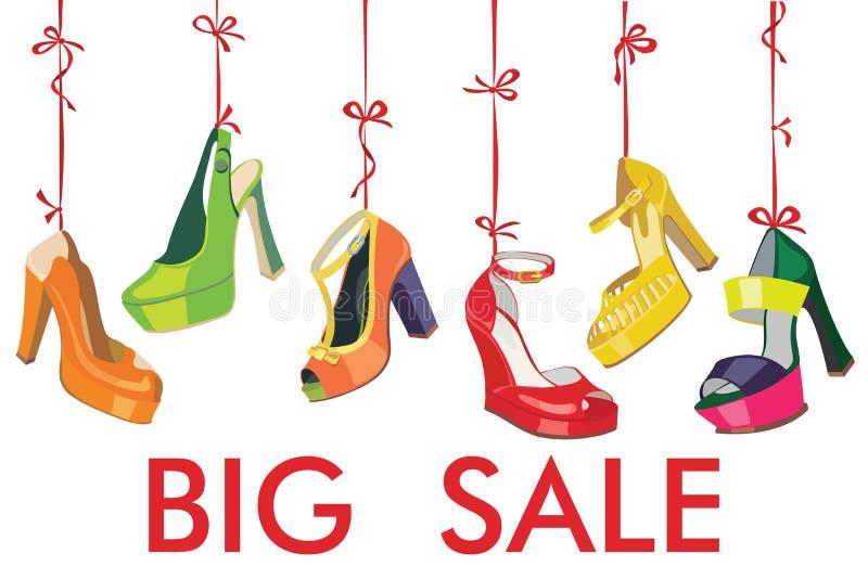 Kolorowy mod kobiet butów zrozumienie na faborku. Duży  royalty ilustracja