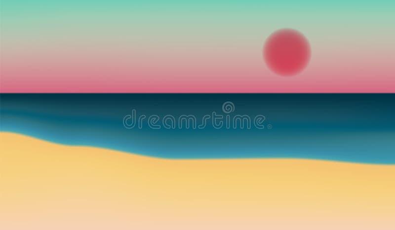 Kolorowy morze i plaża krajobraz przy zmierzchem ilustracja wektor