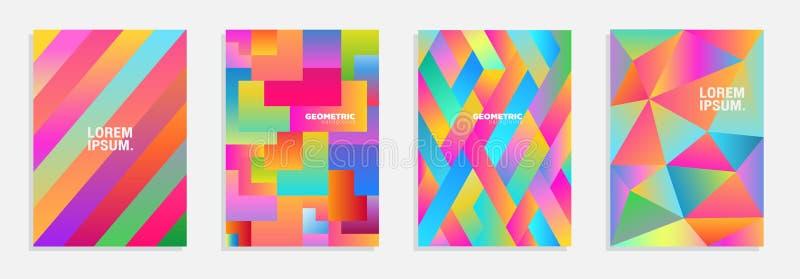 Kolorowy mozaik pokryw projekt Minimalni geometryczni deseniowi gradienty Eps10 Wektor royalty ilustracja