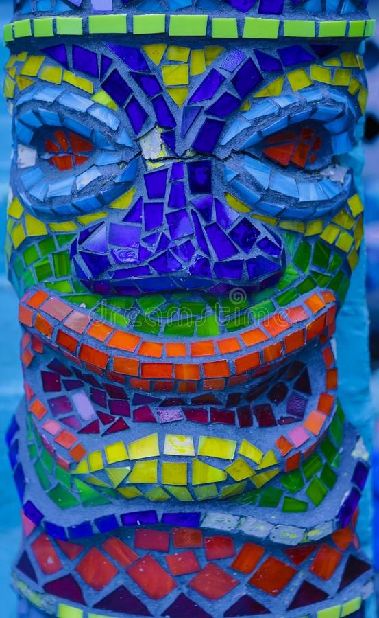 Kolorowy mozaiki płytki tik mężczyzna głowy szczegółu wzoru tło fotografia royalty free