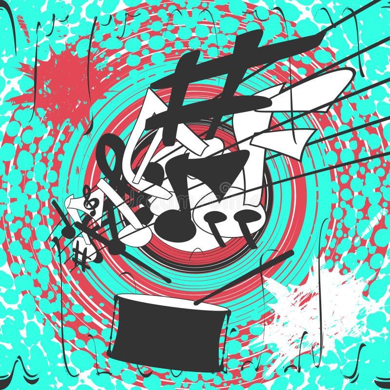 Kolorowy Muzyczny plakat Wektorowa Grunge ilustracja ilustracji