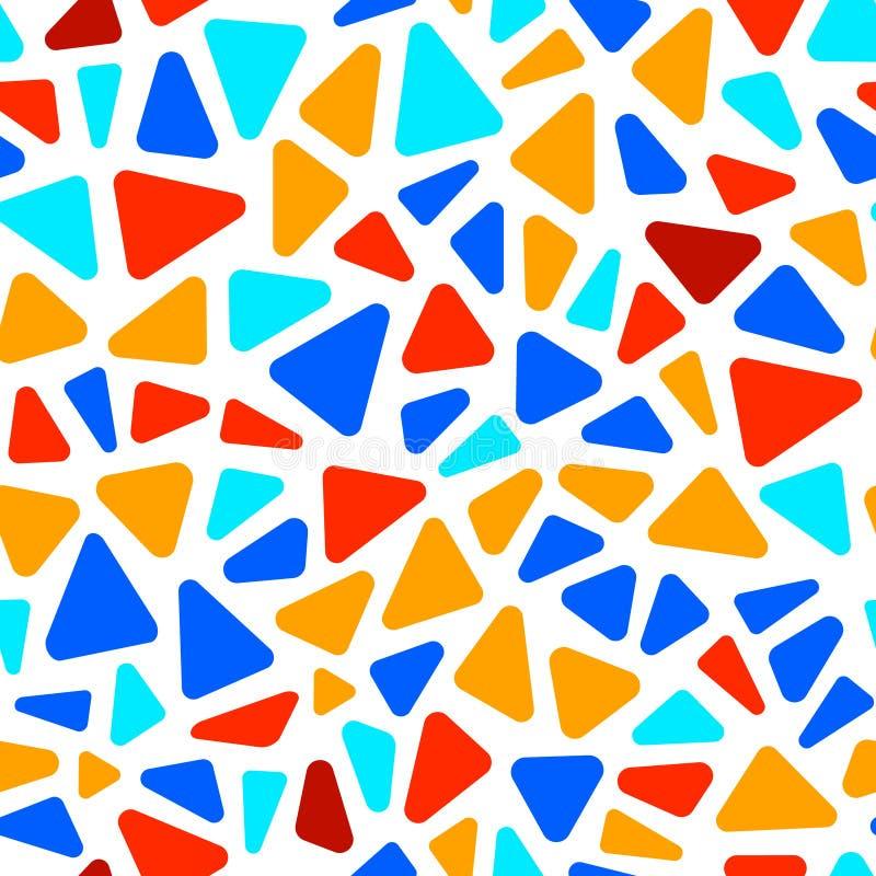 Kolorowy na białej trójboka kształta mozaiki geometrycznym bezszwowym wzorze, wektor ilustracja wektor