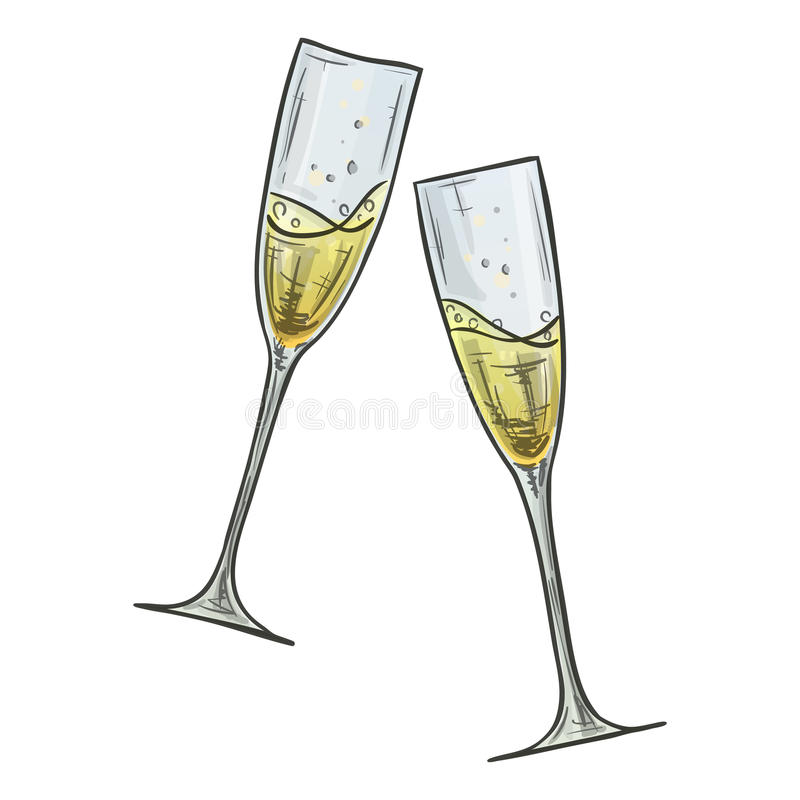 Kolorowy nakreślenie dwa szkła szampan ilustracja wektor