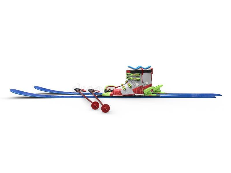 Kolorowy narciarski wyposażenie - bocznego widoku zbliżenia strzał ilustracji