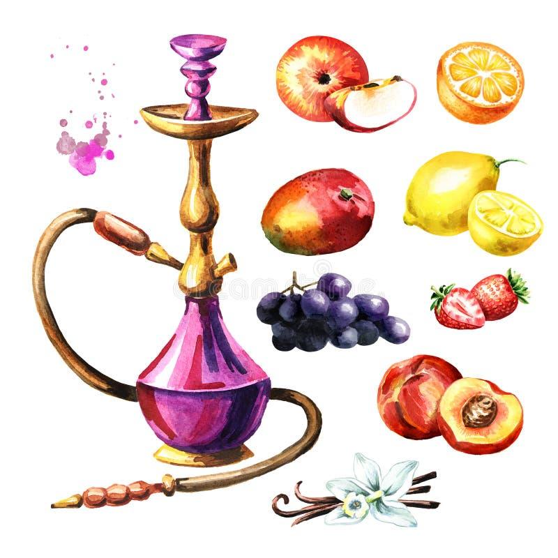 Kolorowy nargile z owoc ustawiać Akwareli ręka rysująca ilustracja odizolowywająca na białym tle ilustracja wektor