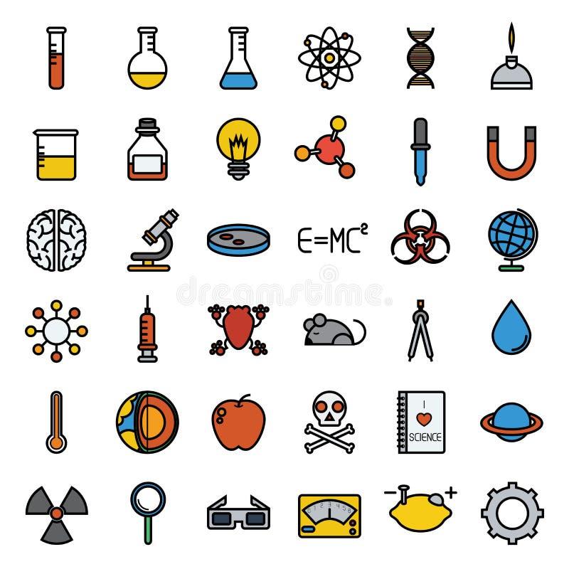 Kolorowy nauki ikony set, wektor ilustracji