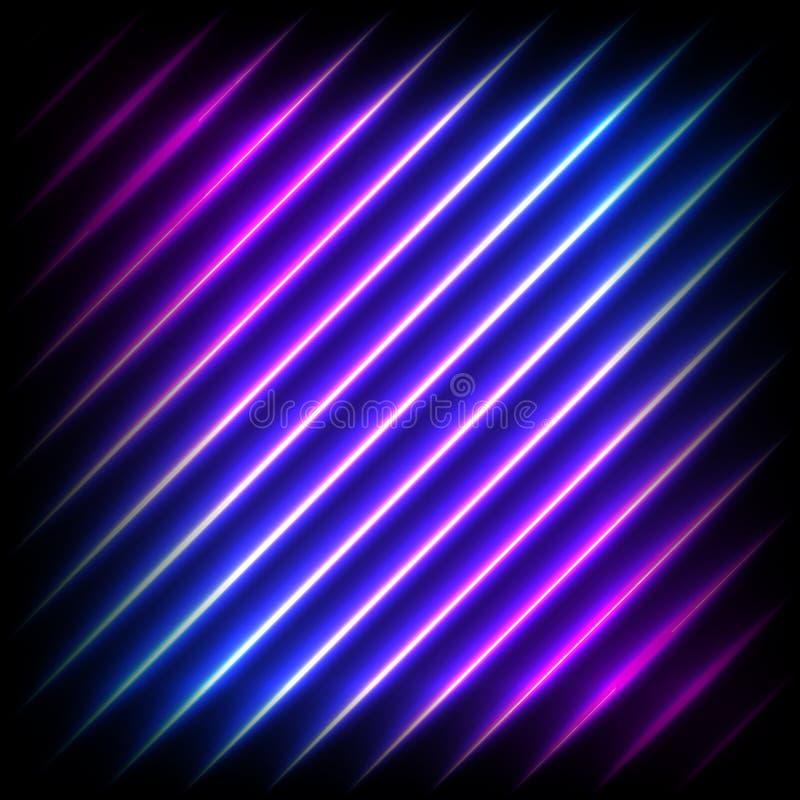 Kolorowy neonowy diagonalny tło, wektorowa abstrakcjonistyczna ilustracja royalty ilustracja