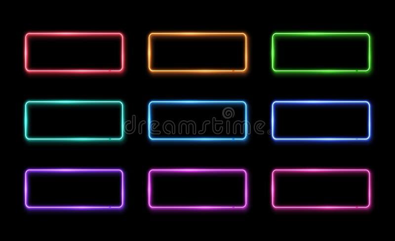 Kolorowy neonowy rama set 1980s kwadrata kształta znaki ilustracji